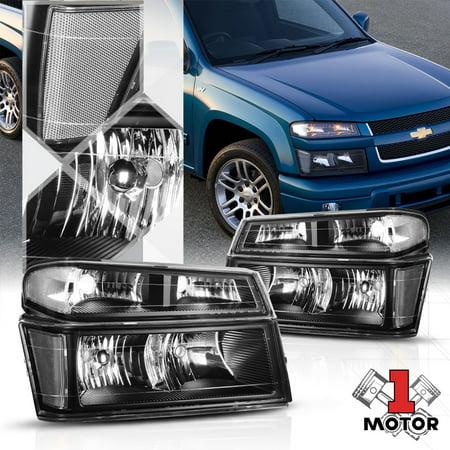 Black Housing Headlight Clear Signal Reflector for 04-12 Chevy Colorado/Canyon 05 06 07 08 09 10 11 07 Chevrolet Colorado Truck