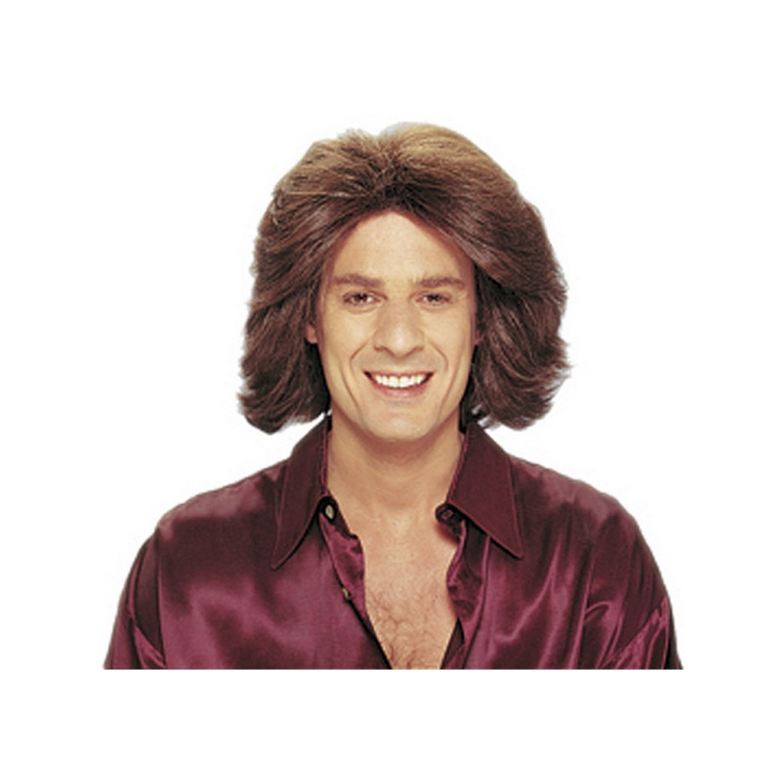 Feathered 70s Men's Brown Wig Halloween Costume Accessory