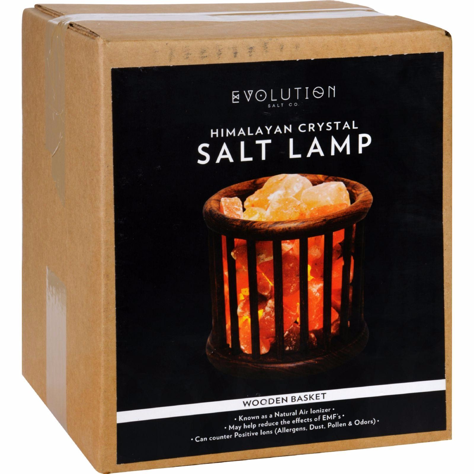 evolution salt crystal salt lamp wooden basket 1 count - Evolution Salt Lamp