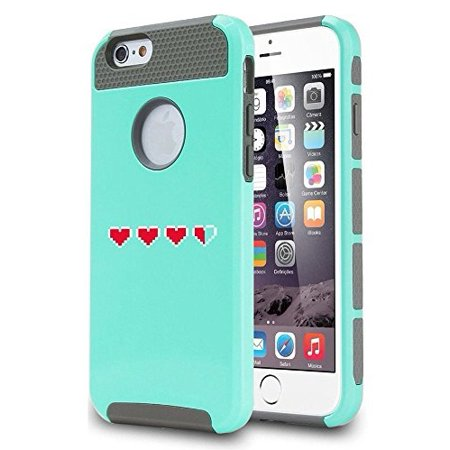 Apple iPhone 6 6s Shockproof Impact Hard Soft Case Cover 8 Bit Heart Lives Nerd (Teal),MIP