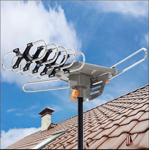 Ktaxon TA-10000 Outdoor Amplified Antenna HD TV UHF/VHF/FM 350 Degree Rotation UV Dual-band
