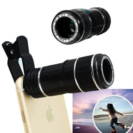 Iphone Camera Lens - 12X Zoom Telephoto Lens, Monocular Telescope, Clip-On HD Phone Camera Lens For iPhone XS Max/XS/XR/X/8 Plus/8, For Samsung Galaxy Note 9/8,S9 Plus/S9,S8 Plus/S8,S7 Edge/S7