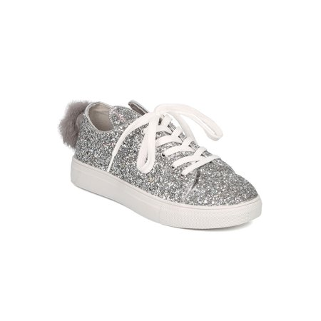 Women Glitter Lace Up Bunny Ear and Tail Sneaker - Bunny Shoes
