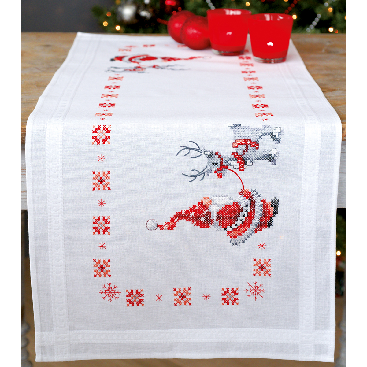 "Christmas Elves Table Runner Stamped Cross Stitch Kit, 16"" x 40"""
