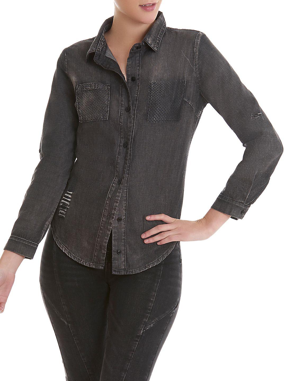 Distressed Denim Button-Down Shirt
