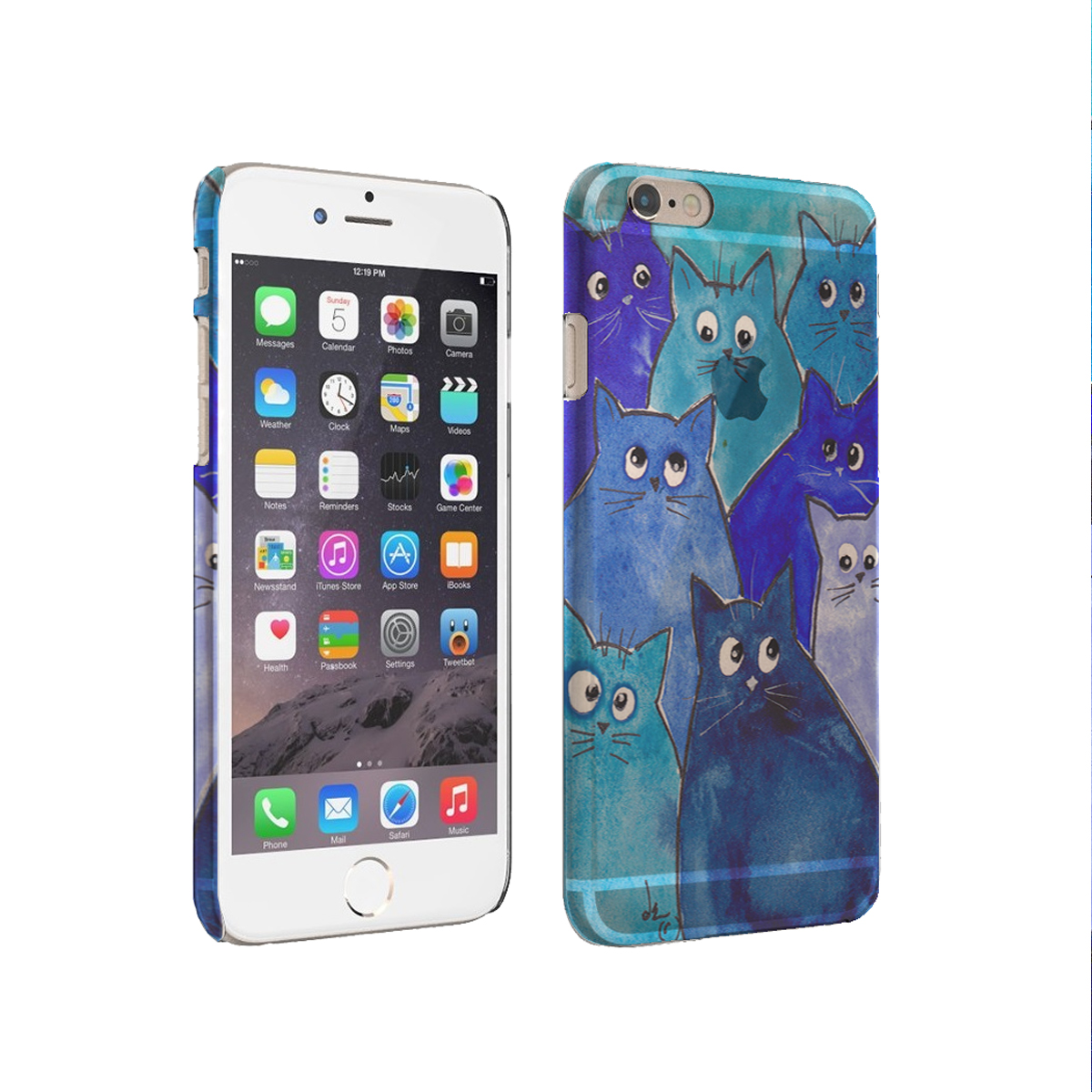 KuzmarK iPhone 6 Rubber TPU Gel Cover Case - Whacky Blue Kitties Abstract Cat Art by Denise Every