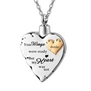 SJENERT Cremation Necklace Jewelry for Ashes -No Longer By My Side Forever in My Heart Urn Pendant Necklace for Ashes Grandma/ Grandpa/ Mom /Dad/ Brother/ Sister /Dog(Brother)