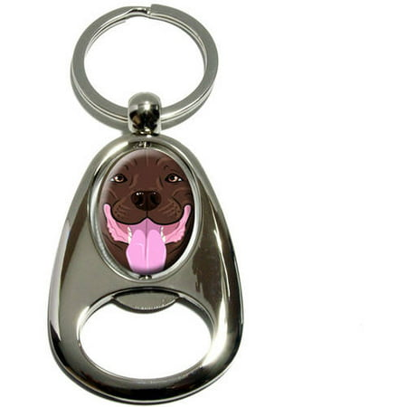 American Staffordshire Pit Bull Terrier (Pit Bull Brown, Pitbull American Staffordshire Terrier Dog Pet, Chrome Plated Metal Spinning Oval Design Bottle Opener Keychain Key)