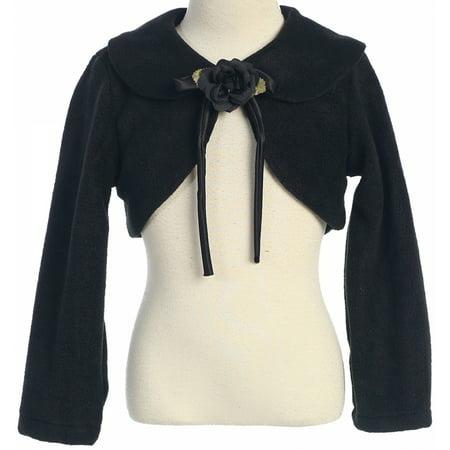 16b22cfc14a7a Holiday - Big Girls' Long Sleeve Fleece Party Flower Girl Bolero Jacket  Cover Up Black 12 (K21D6) - Walmart.com