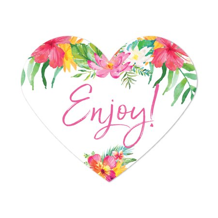 Tropical Floral Garden Party Wedding, Heart Label Stickers, Enjoy!, 75-Pack, Destination Wedding Miami Decorations - Halloween Parties In Miami 2017