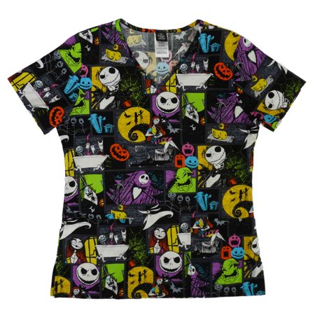 disney womens black the nightmare before christmas halloween scrub top