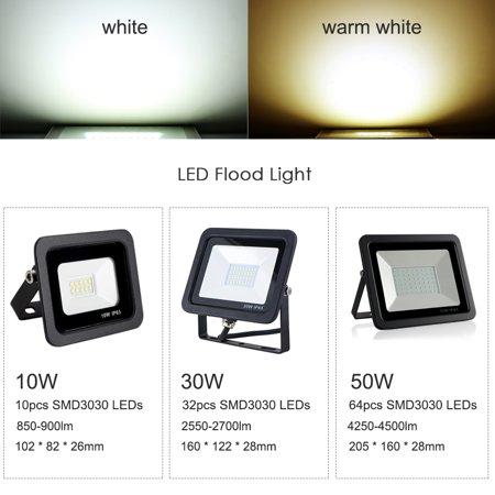 AC 180-265V 10W 10LEDs Flood Light Thin Spot Lamp Landscape Floodlight IP65 Water Resistant Bright Outdoor Secure Lights for Garage Yard Parking Lawn 6000k White - image 7 of 7
