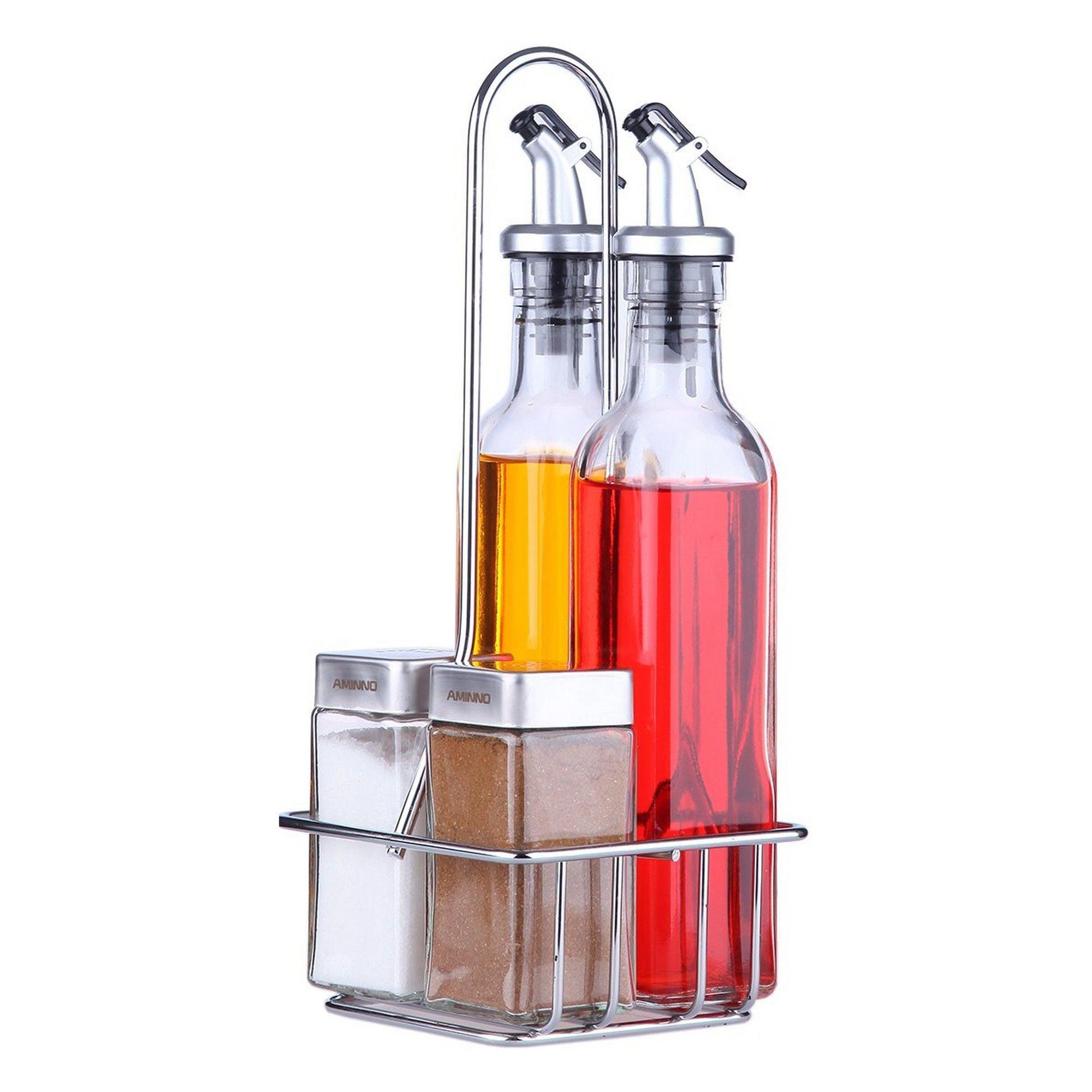 Glass Salt and Pepper Set in Metal Caddy Condiment Set Cruet Set Holder