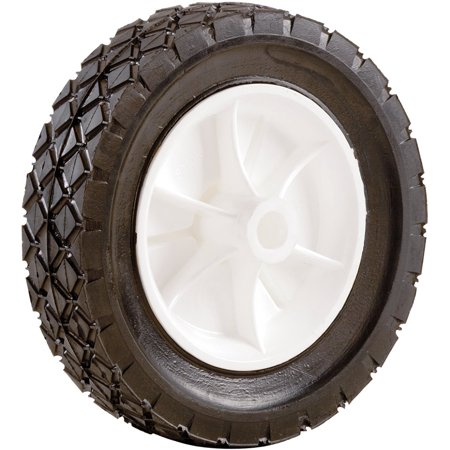 Shepherd Hardware 9613E 8-Inch Semi-Pneumatic Rubber Replacement Tire, Plastic Wheel, 1-3/4-Inch Diamond Tread, 1/2-Inch Bore Offset Axle