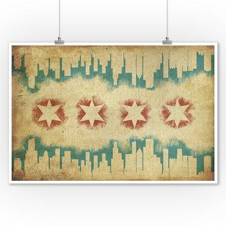 Chicago, Illinois - Flag & Skyline Tapestry - Lantern Press Artwork ...