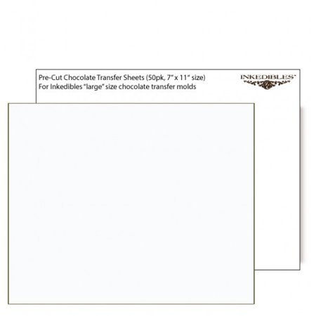 Unprinted Chocolate Transfer Sheets 50 sheets - 11in x 7in (Chocolate Transfer Sheets Wedding)