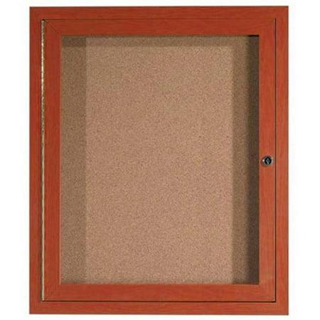 Outdoor Enclosed Aluminum Bulletin Board (Aarco Products ODCCW3630R 1-Door Outdoor Enclosed Aluminum Bulletin Board - Cherry )