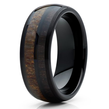 8mm Tungsten Wedding Band Deer Antler Ring Carbide Cherry Wood Two Tone Comfort Fit