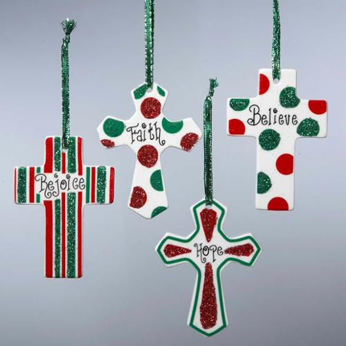 """Club Pack of 24 Inspirational Religious Cross Porcelain Christmas Ornaments 3.5"""""""