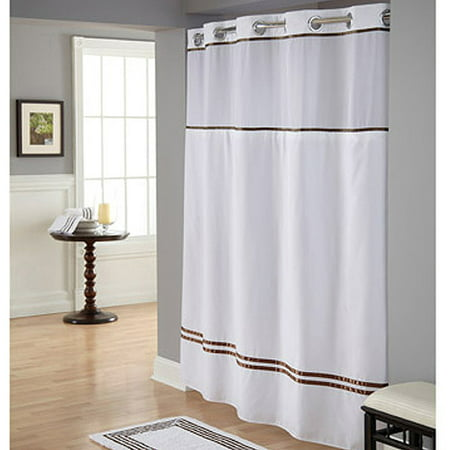 brown and white shower curtain. Hookless White Brown Polyester Shower Curtain  Walmart com
