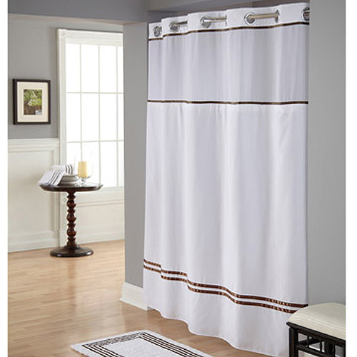 Hookless White/Brown Polyester Shower Curtain