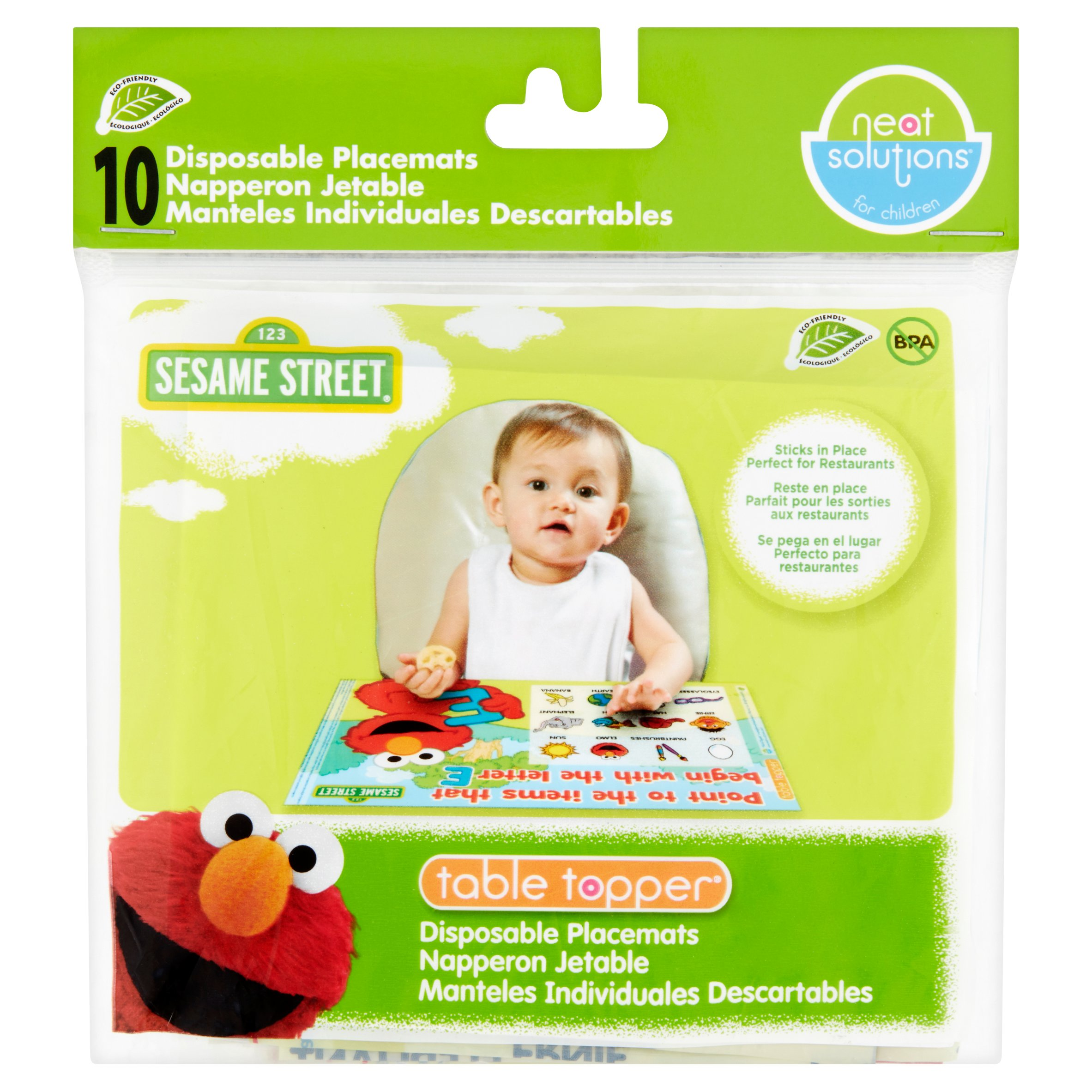 Neat Solutions for Children Sesame Street Table Topper Disposable Placemats, 10 count