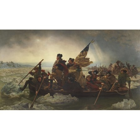 - Vintage American History painting of General George Washington Crossing the Delaware Original by Emanuel Gottlieb Leutze Poster Print