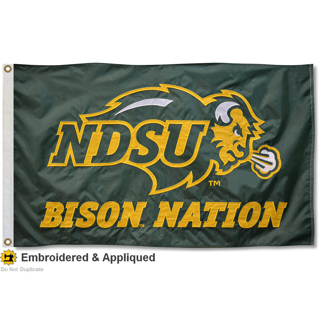 North Dakota State Bison 3' x 5' Nylon Embroidered Flag
