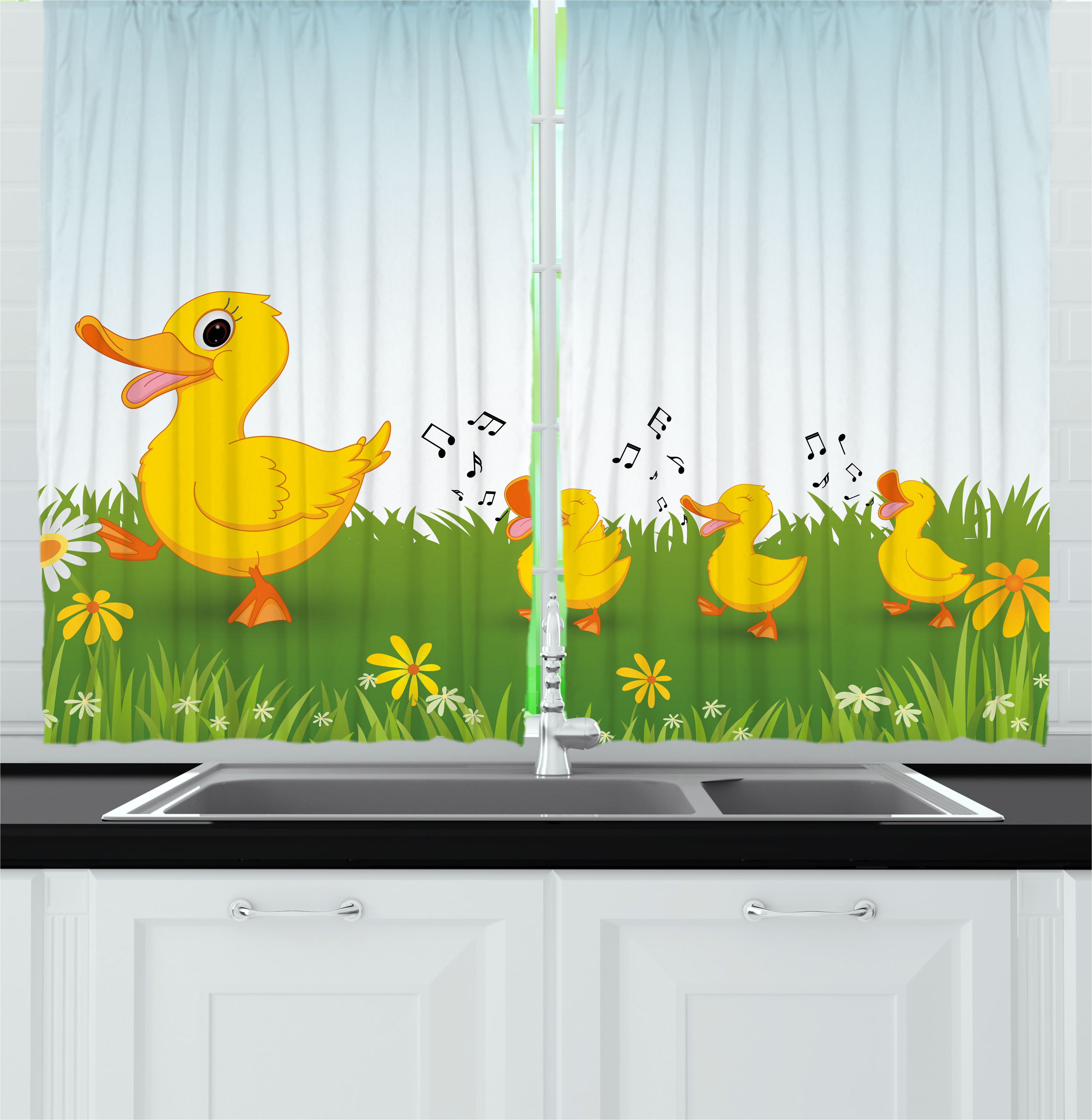 Cartoon Curtains 2 Panels Set, Mother Duck and Babies Wal...