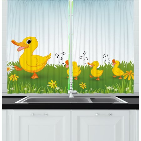 Cartoon Curtains 2 Panels Set, Mother Duck and Babies Walking and Singing on the Meadow with Flowers, Window Drapes for Living Room Bedroom, 55W X 39L Inches, Mustard and Pale Blue, by