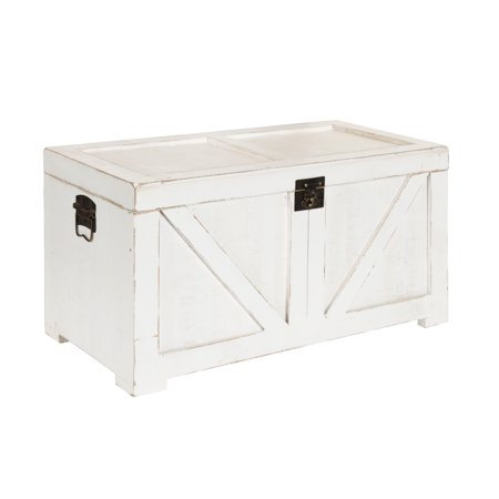 Kate and Laurel - Cates Classic Farmhouse Small Wooden Storage Chest Trunk, Antique White with Vintage Brass Hardware, 28 x 14.5 x (Antique Trunks Chests)