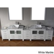 Virtu USA Dior 118 inch Double Sink Vanity Set in White Dior 118 inch white w/ carrara wh marble top
