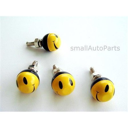 SmallAutoParts Smiley Face License Plate Frame Fasteners Bolts - Set Of 4