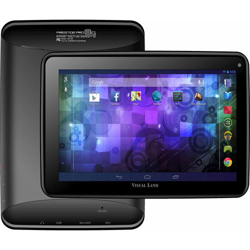 "Visual Land Prestige Elite 8Q with WiFi 8"" Touchscreen Tablet PC with Case Featuring Android 4.4 (KitKat) Operating System"
