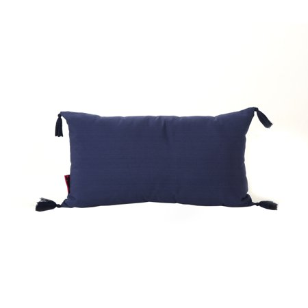 Noble Fabric Tassel Rectangular Throw Pillow, Dark