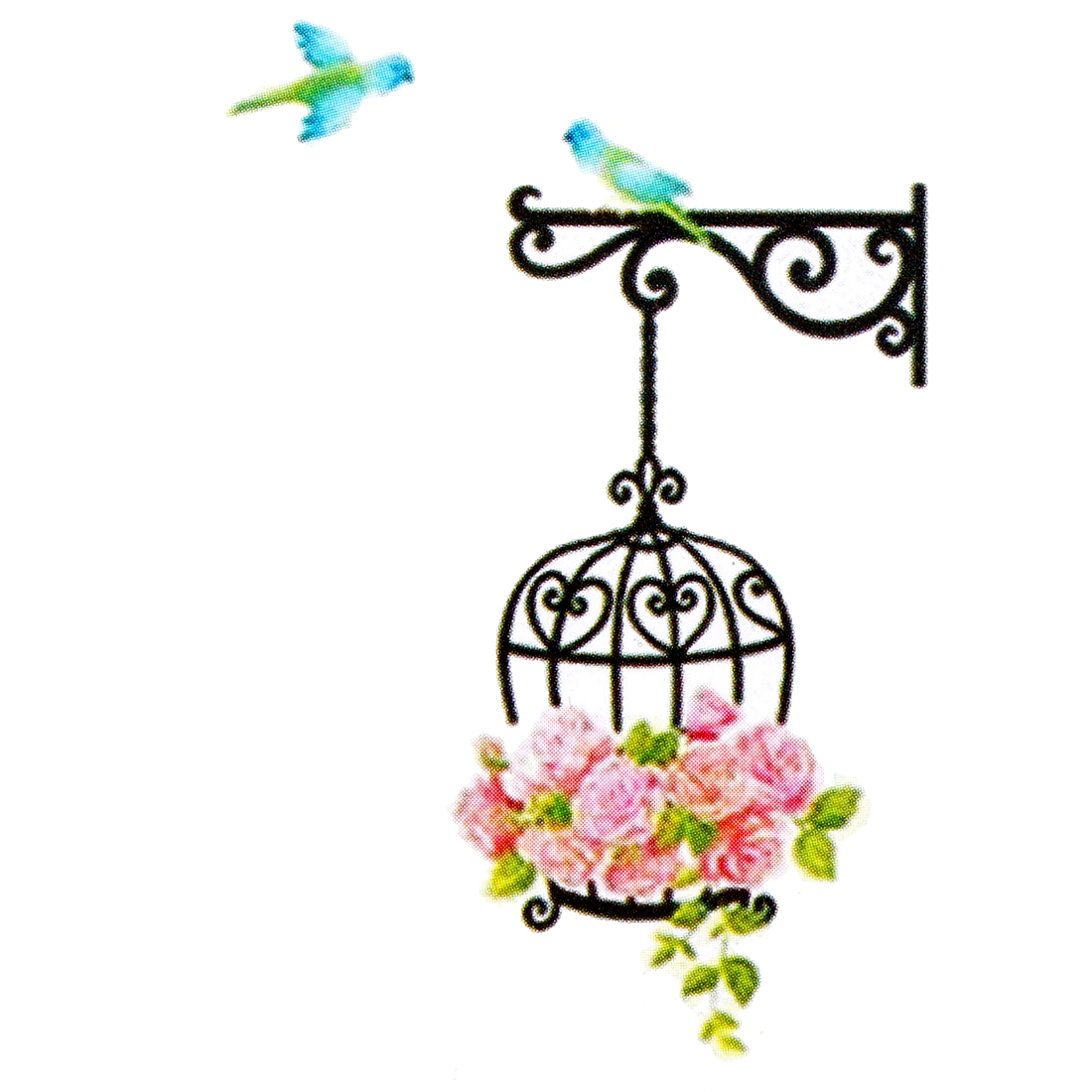 Bird Cage Rose Flower Pattern Removable Wall Sticker Decal Mural Art Decor