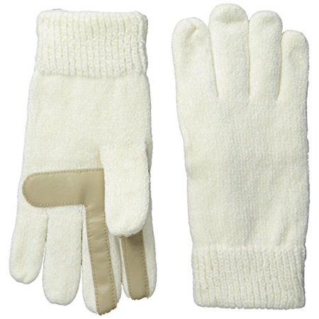 Hand Woven Rayon Chenille (Isotoner Womens Smartouch Solid Rayon Chenille Knit Palm Glove, Ivory, One Size )