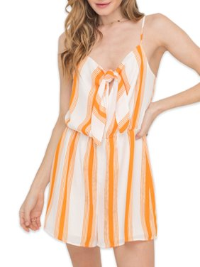 Lush Clothing Stripe Romper With Tie