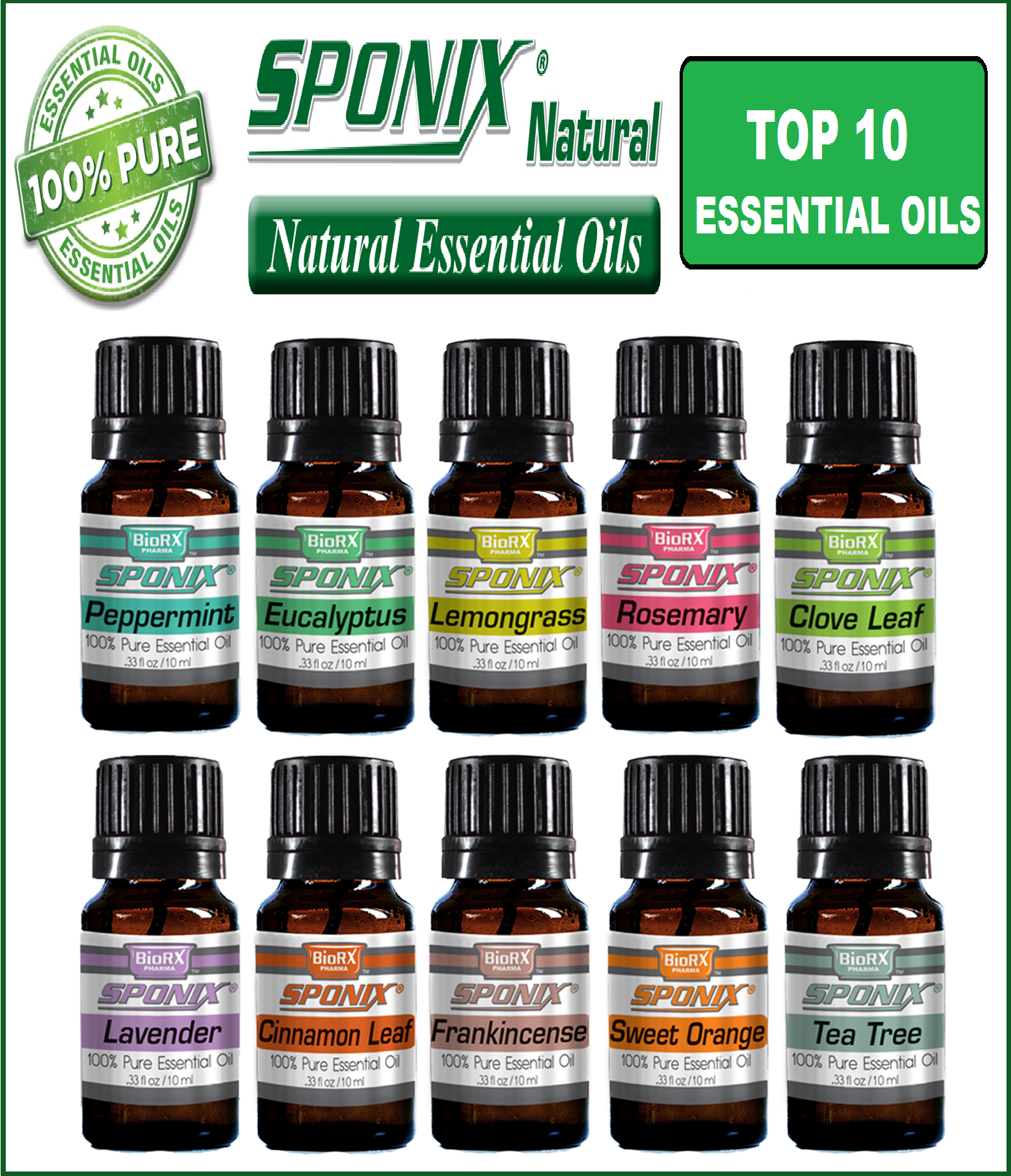 Aromatherapy Sponix Top 10 Essential Oils - 10 ml - 100% Pure & Natural (Peppermint, Eucalyptus, Lemongrass, Rosemary, Lavender, Cinnamon...