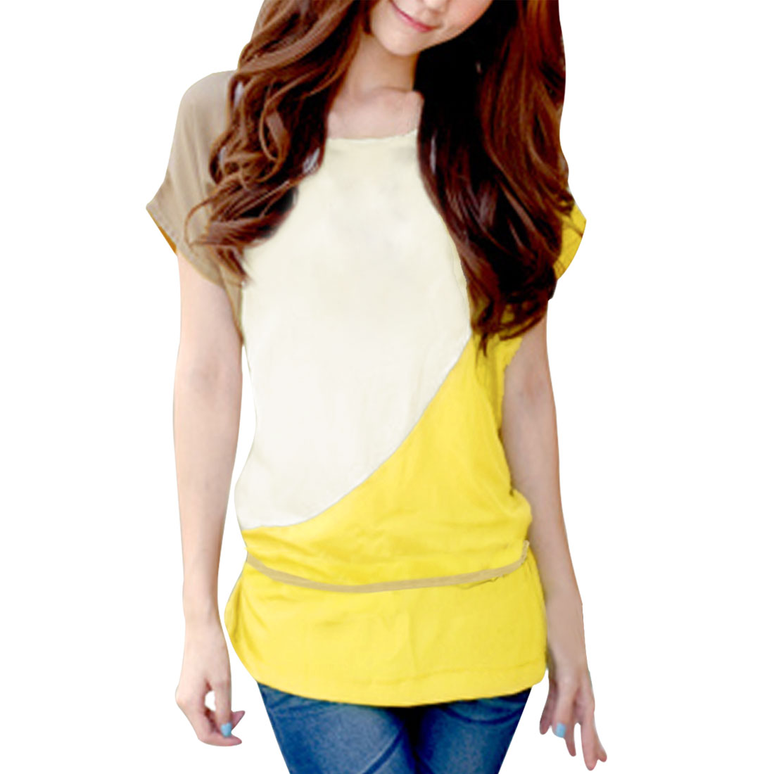 Allegra K Women's Short Sleeve Contrast Tunic Top w Belt Yellow (Size M / 8)