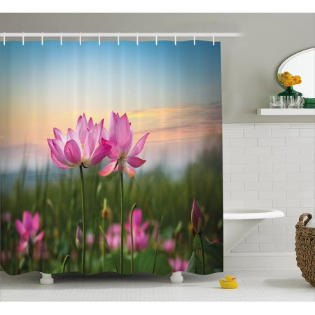 Lotus Shower Curtain Beautiful Asian Flower Blooming In Spring Meadow Natural Zen Garden Fabric