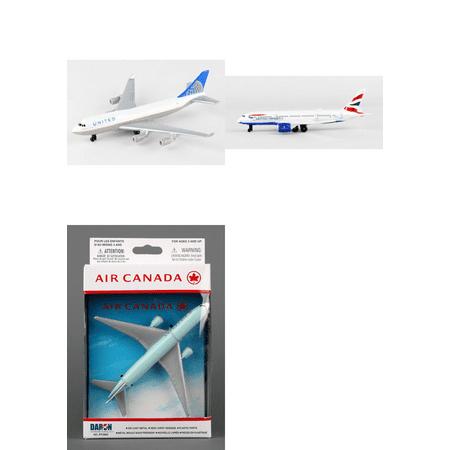 "United, British Airways, Air Canada Airlines Diecast Airplane Package - Three 5.5"" Diecast Model Planes"