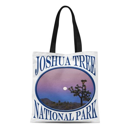 HATIART Canvas Tote Bag Pink Nature Joshua Tree National Park Full Moon Landscape Reusable Handbag Shoulder Grocery Shopping Bags - image 1 of 1