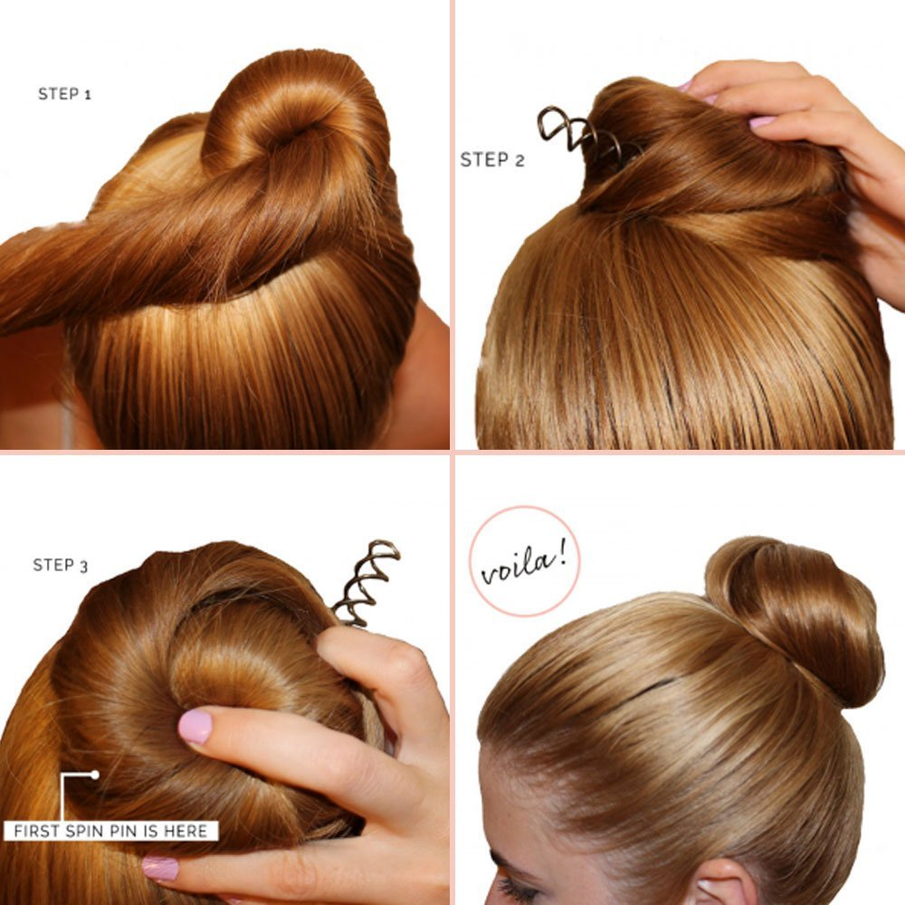 Spiral Bobby Pins   8-PACK   Spin Pins   The NEW way to Bobby Pin Hair    Black Bobby Pins   Twist Screws   Bun Maker   Hair Pin for Women  