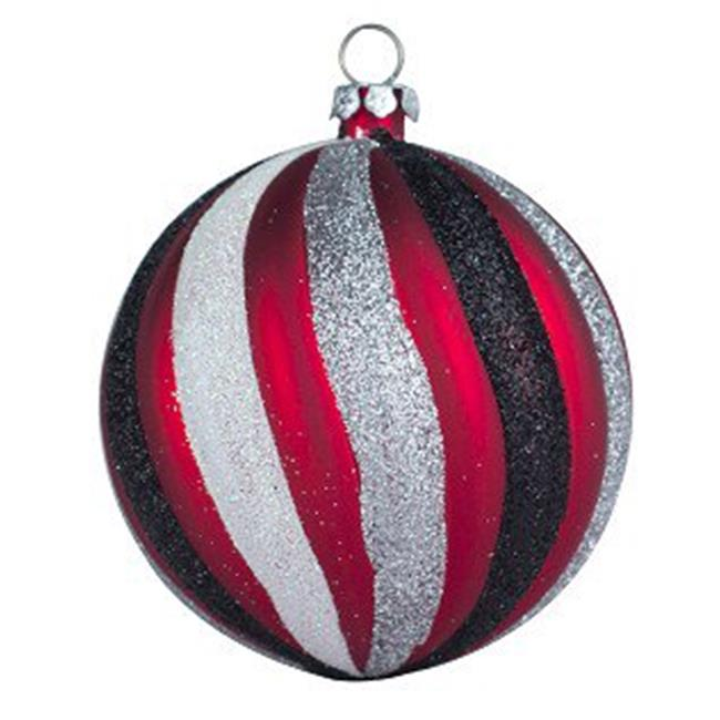 275 in. Swirl Ball Ornament Red & Silver - Pack of 4 - image 1 of 1