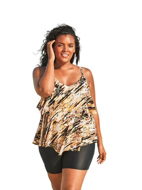 Woman Within Plus Size Double-tier Tankini Top In Mesh