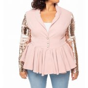Womens Jacket Peplum Sequin Embellished Sleeves XL