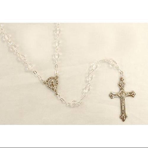 "17.5"" April Diamond Birthstone Glass Beaded Rosary"