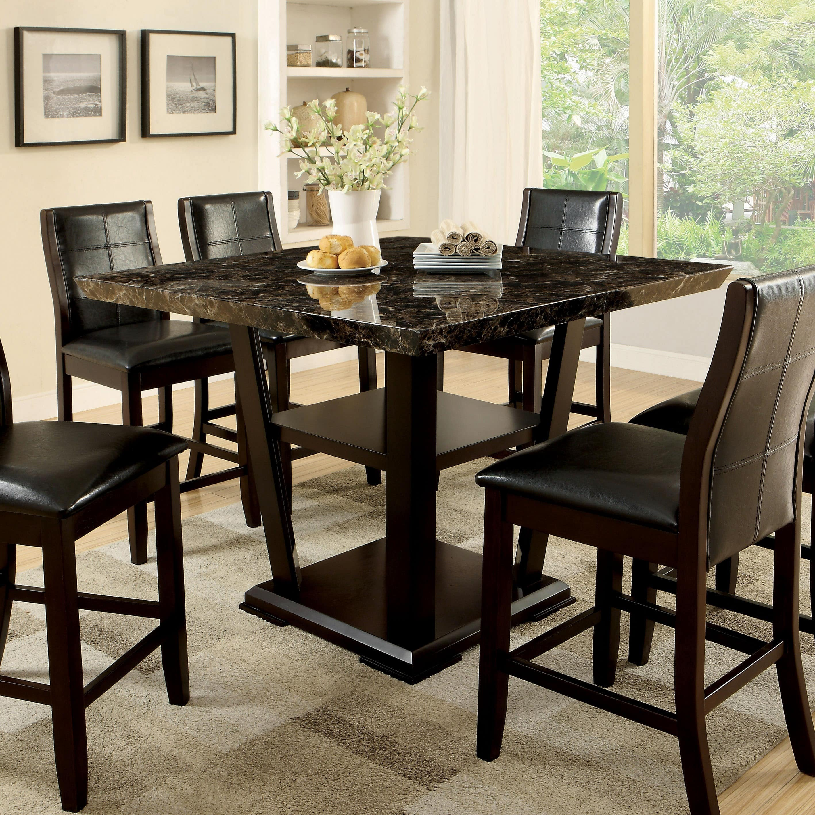Furniture of America  Elivia Modern Faux Marble Counter Height Table - Cherry