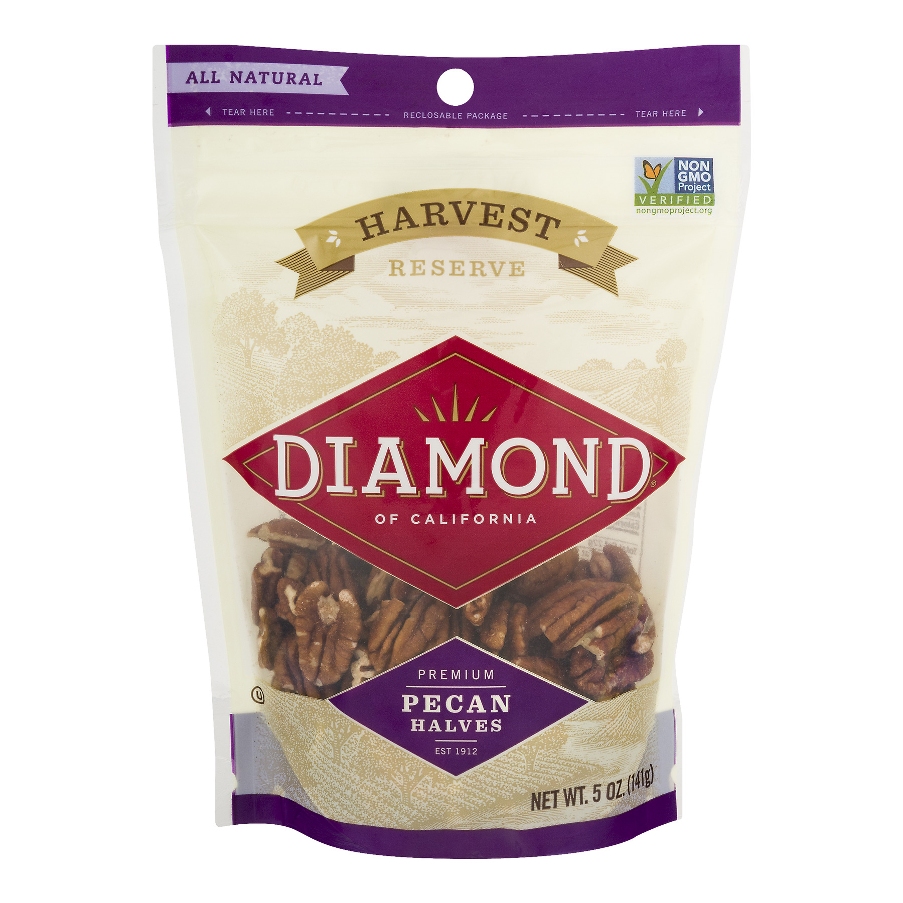 (2 Pack) Diamond of California Harvest Reserve Premium Pecan Halves, 5 oz